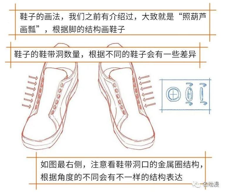 鞋子怎么画?教你画穿鞋带的鞋子!