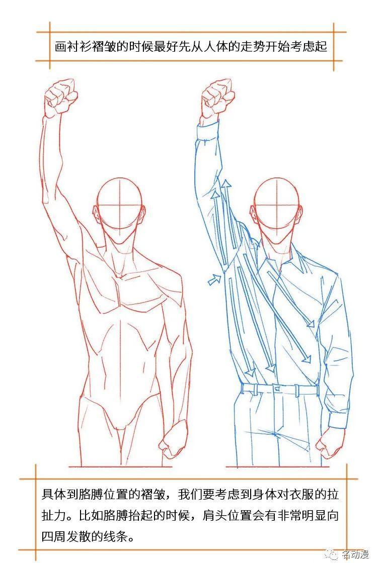 人物服装褶皱走势细节画法